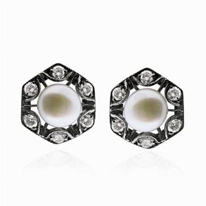 Pearl & Diamond Stud Earrings
